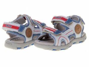 Details zu Jungen Geox Echtleder Schuhe Sandalen Leder Sandale Klett Gr 25 NEU und OVP