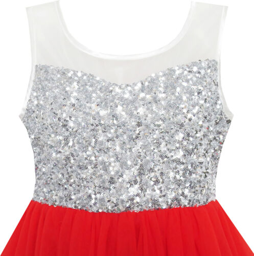 Flower Girl Dress Sequin Mesh Party Wedding Princess Tulle Red Age 7-14 Pageant
