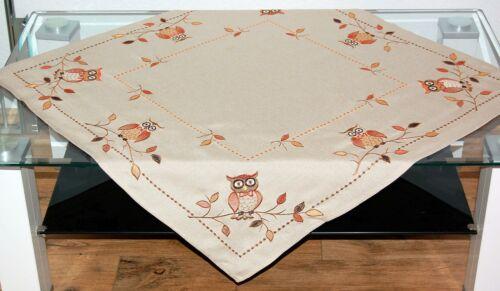 Tischdecke Herbst Mitteldecke Decke Tischdeko Eulendecke Stickerei Eule 85x85 cm