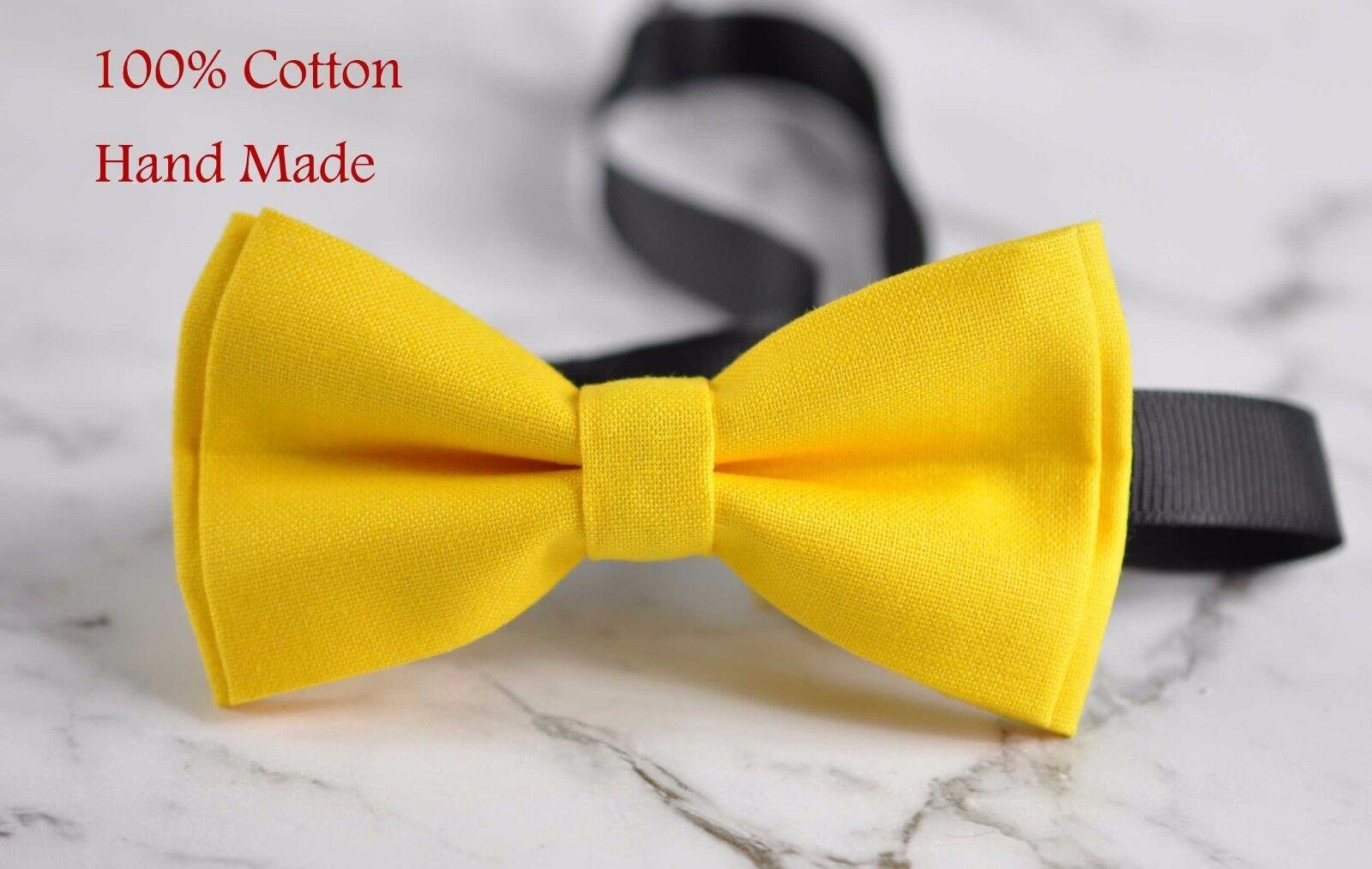 d98b9b5d9b13 Father Son Match 100% Cotton Handmade Matte YELLOW GOLD Bow Tie ...