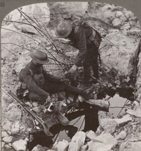 WW1-Hooge-Ypres-Offering-Water-to-a-Wounded-Pal-Beside-a-Shattered-Blockhouse