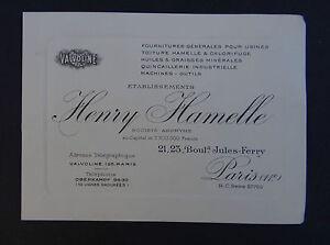 Carte De Visite HENRY HAMELLE Valvoline Huile Bidon