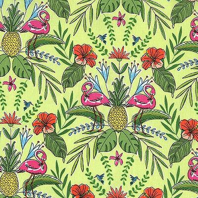 100/% Cotton Fabric Timeless Treasures Flamingos /& Pineapples Tropical