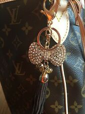 SALE! New Large Bow Dangle Crystal Purse Bag Charm Gold Bling Keychain