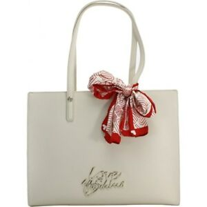3672ee541f Image is loading Love-MOSCHINO-Woman-Shopping-Bag-PU-Ivory-Scarf-