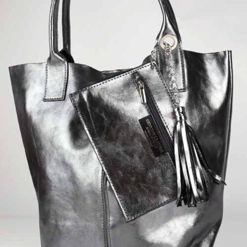 Quasten Kette Fransen Schulter Tasche Ital Leder Grau Shopper Borse in Pelle NEU