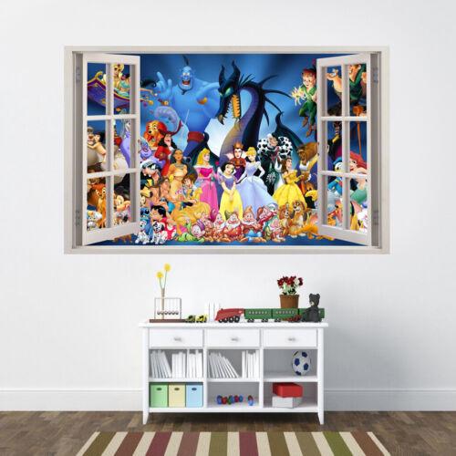 Personnages Disney 3D fenêtre amovible Wall Sticker Decal À faire soi-même Murale Princesse Disney