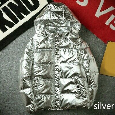 Hot Mens Cotton Down Padded Coat Stand Collar Puffer Shiny Parka Jackets Glossy