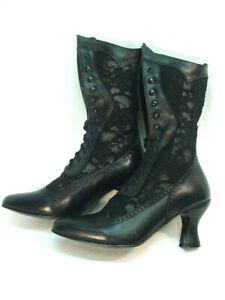 Oak Tree Farms BLACK Lace and Kidskin Vesper Old West Granny Vintage Boots 6.5