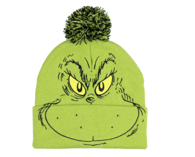Dr Seuss the Grinch Beanie Hat with Pom Pom and Cuff Christmas Accessory d9378eb7481