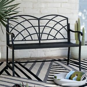 Black Metal Outdoor Bench Modern Arched Back Patio Porch ... on Modern Back Patio id=30074
