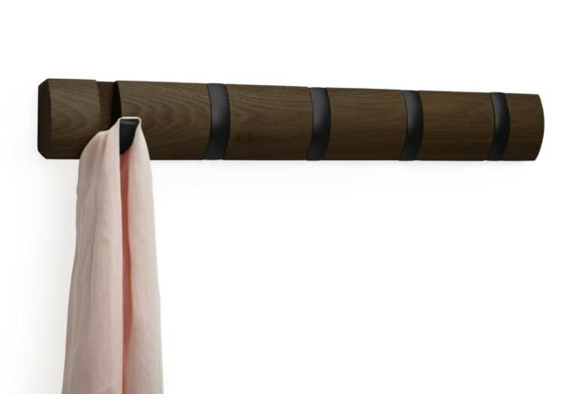 Appendiabiti da parete Flip 5 Hooks - Umbra 318850-048 Color Noce / Ganci neri