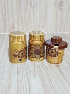 Vintage-Retro-60-039-s-70-039-s-Worcester-Palissy-Brown-Glazed-Flower-Cruet-Set-Mustard