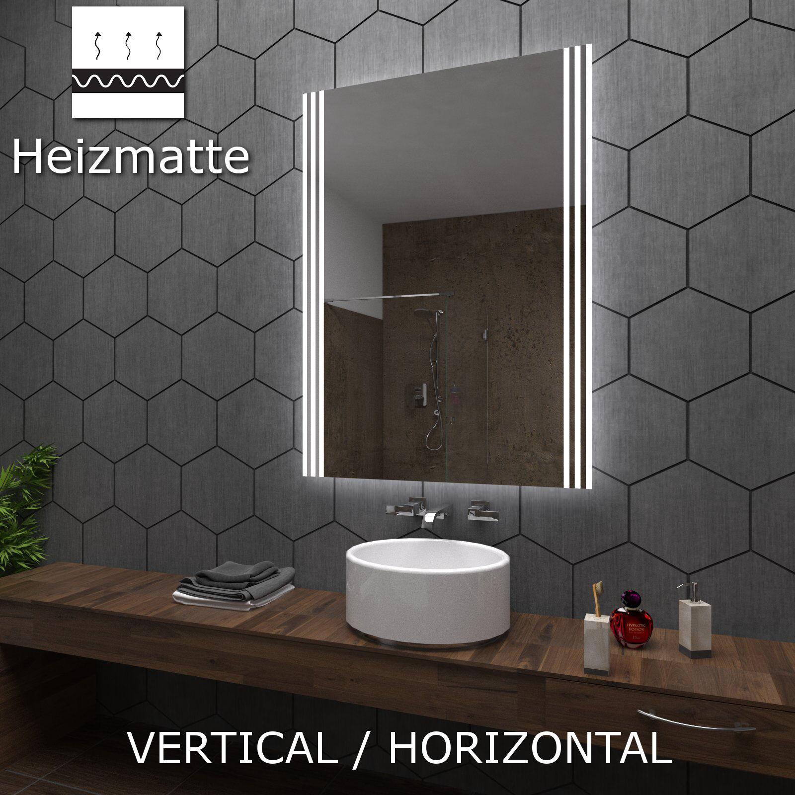ARICA Badspiegel mit LED Beleuchtung Wandspiegel  nach Maß Heizmatte ECO