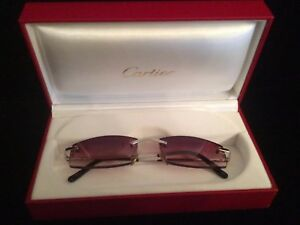 38f4d13e9367 Image is loading VINTAGE-CARTIER-RIMLESS-BROWN-GRADIENT-LENS-SUNGLASSES-MADE -