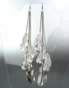 CHIC-Silver-Chain-Feathers-Long-Shoulder-Duster-Dangle-Earrings