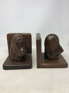 Pair-Of-Vintage-Bookends-Animal-Dog-Dachshund-Book-Ends-Wood-Carved