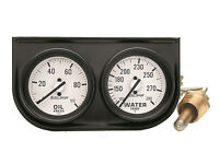 Auto Meter Autogage 2 Gauge Oil Press /water Temp Black Console 2-1/16 White