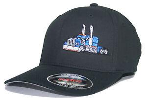TRUCKER HAT FLEXFIT FITTED CAP RIG TRACTOR PETERBILT KENWORTH MACK ... a47cde78048