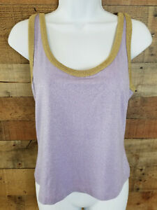 Casual-Tank-Top-Sparkly-Lavender-Gold-Trim-Sleeveless-Metallic-Top-Size-M