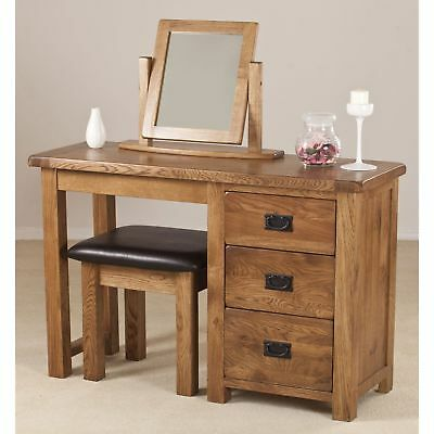 Rustic Solid Oak Single Pedestal Dressing Table Furniture with 3 Drawers