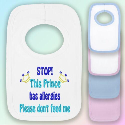 Este príncipe tiene alergias Bordado Pull-over Babero de Bebé Regalo Niño alergia alimentaria