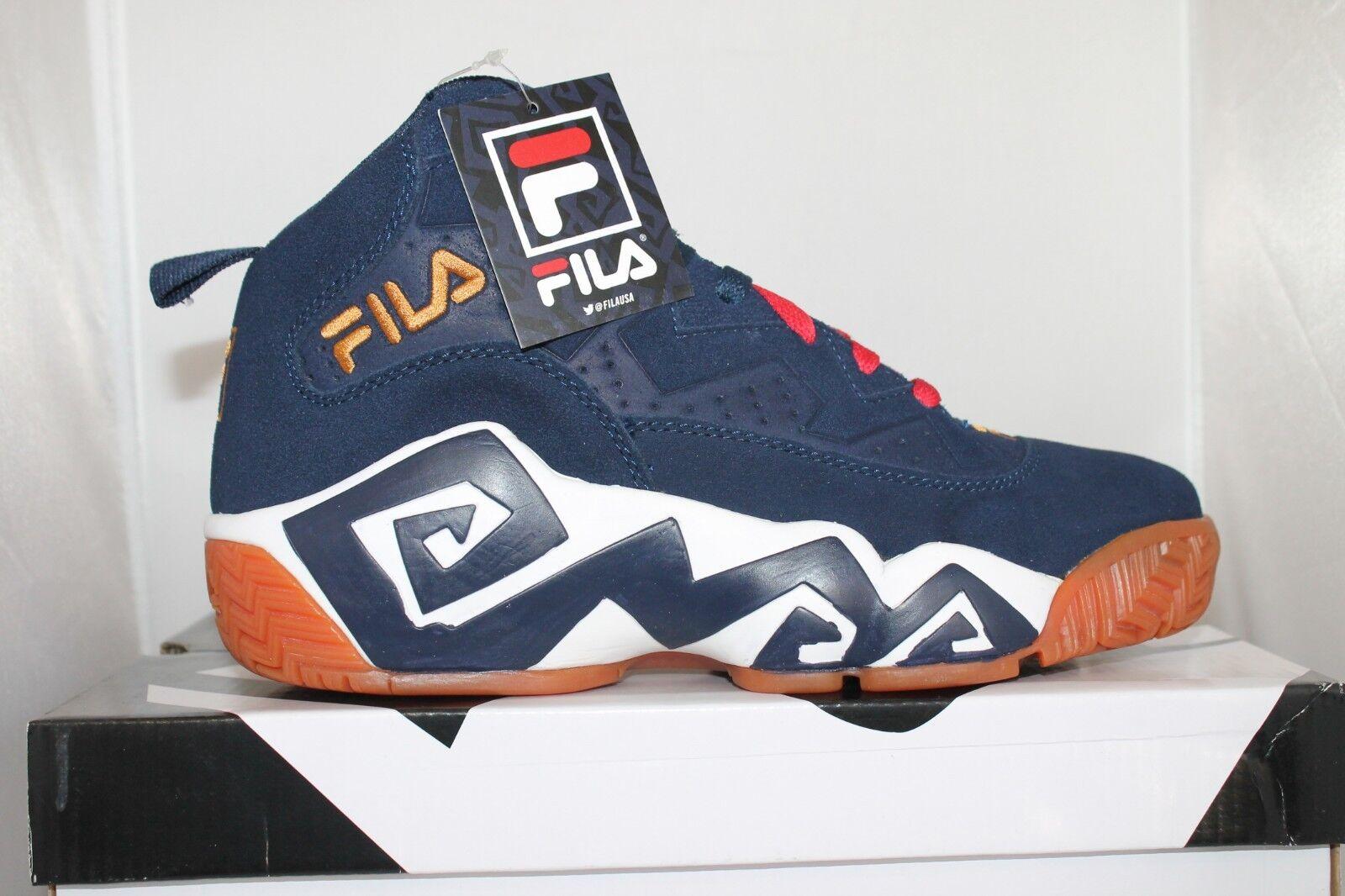 Mens Fila MB Jamal Mashburn Retro Basketball shoes Sneakers Navy White gold