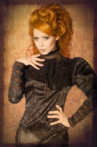 STEAMPUNK JABOT BLUSE schwarz gothic rüschen viktorianisch zahnrad satin