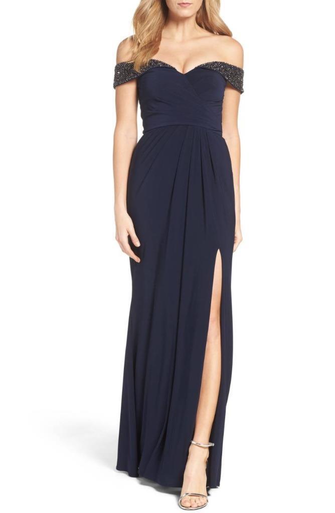 Xscape Off the Shoulder Beaded Gown-Größe 6 Petite  (F)