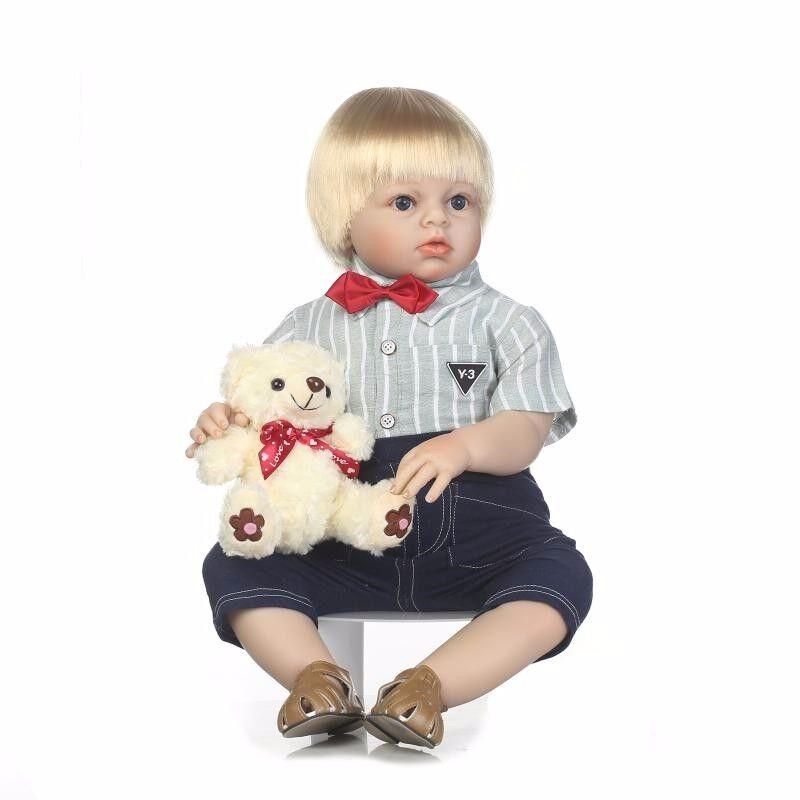 28  muñecas reborn bebe realista rubia Babys Niño Bebé Grande Muñeca de vinilo suave silicona