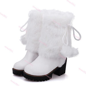 Womens-Furry-POM-POM-Mid-Calf-Boots-Block-High-Heel-Snow-Boots-Pull-On-Boots-Sz