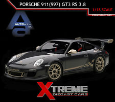 AUTOART 78142 1:18 PORSCHE 911(997) GT3 RS 3.8 GREY BLACK W/ WHITE GOLD STRIPES