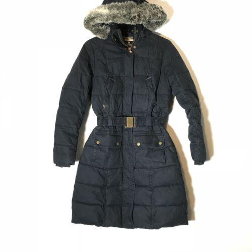 EUC Barbour Dark Navy Fibre Down Parka Faux Fur H… - image 1