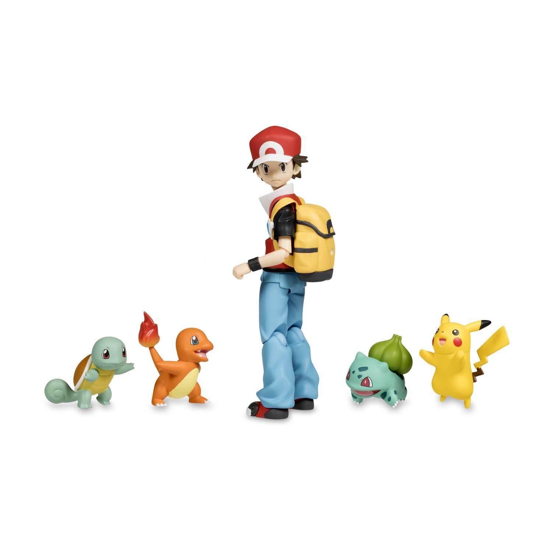 Figura Figma  Rojo desechables con Pikachu, Bulbasaur, Charmander & Squirtle