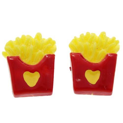 ❤ 5 x HEART Fries 16mm Cabochon Flat Back Resin Kawaii Embellishment Jewellery ❤