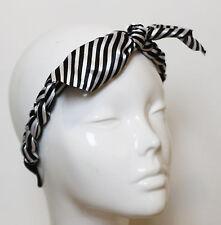 Silky Elastic Braided Black White Stripes Hairband Bunny Headband Rockabilly