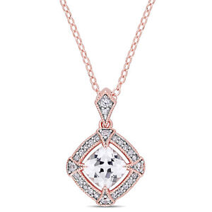 Amour Rose Plated Silver Created White Sapphire Diamond Halo Necklace