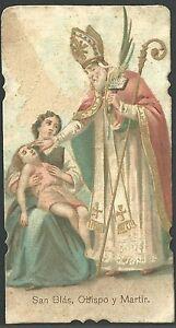 Estampa antigua de San Blas andachtsbild santino holy card santini