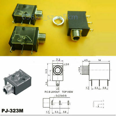 """10PCS 1//8/"""" 3.5mm Stereo Socket Jack Headphones With nut PCB Panel Mount Chassis"""