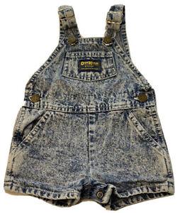 OshKosh B'Gosh Baby Girl VestBack Denim Overall Shortalls Blue Size 6-9 Month