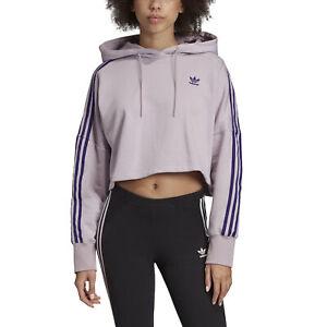 Details zu adidas Originals Cropped Hoodie Damen Kapuzenpullover lila Freizeit ED7556