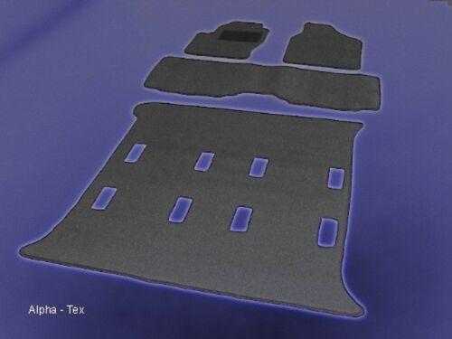 Kofferraum Passform-Velours-Fußmatten für Seat Alhambra komplett inkl