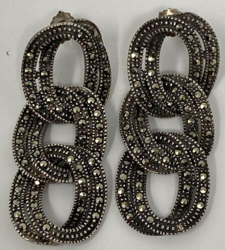 Vintage Art Deco Sterling Silver Marcasite Double