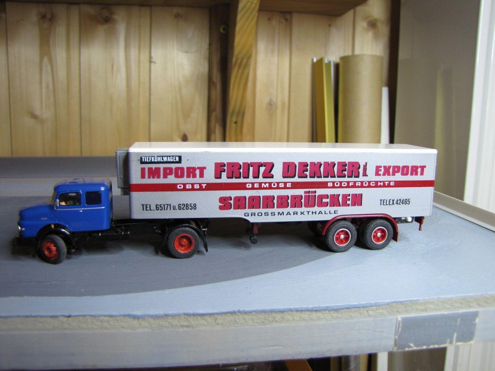 Ho camiones Brekina mercedes benz 1620 schnautzer con zweiachsauflieger fallercar