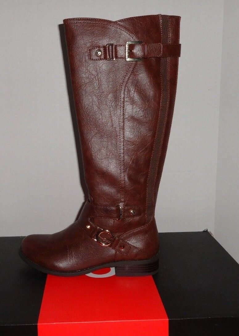NEW WOMENS G BY GUESS HURDLE DARK BROWN FAUX LEATHER BOOTS SZ 7.5