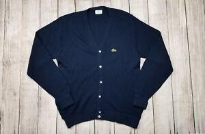 2712b04152 Vintage Mens Izod Lacoste Dark Blue Button Cardigan Sweater L Large ...