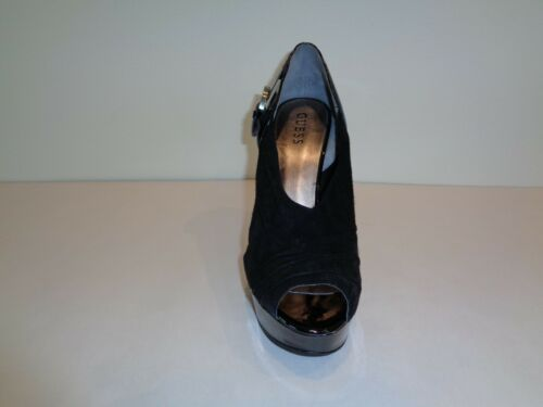Guess Size 10 M KAILAS Black Suede Peep Toe Heels Pumps New Womens Shoes