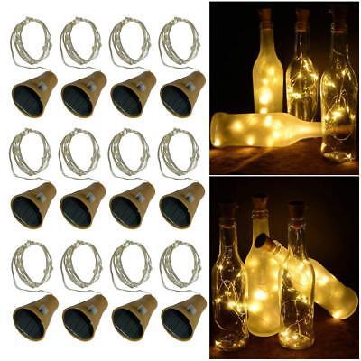 10//20 LED Solar Wine Bottle Cork Shaped String Lights Night Fairy Light Outdoor