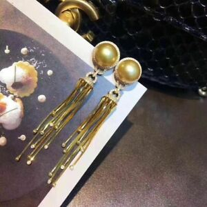 gorgeous 10-11mm south sea round gold  pearl earring925s (mj)