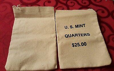 MINT $25 QUARTERS COTTON CANVAS BAG NO COINS HEAVY DUTY *** EMPTY *** EMPTY U.S